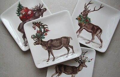 Pottery Barn SILLY STAG ~Christmas~ APPETIZER Tidbit PLATES, Mixed S/4, NEW