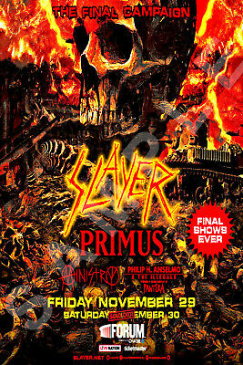 SLAYER 12x18 THE FINAL CAMPAIGN CONCERT POSTER FINAL SHOWS LOS ANGELES THE FORUM