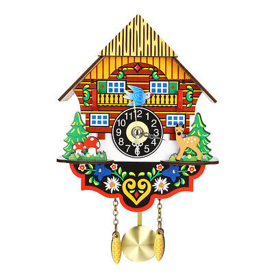 Vintage Home Bird Swing Cuckoo Pendulum Wall Clock Wood Decorative Mounted