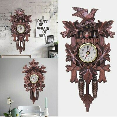 Bird Cuckoo Wall Clock Vintage Swing Wood Hanging Black Forest Antique, Battery