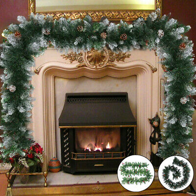 9FT/2.7M Christmas Garland Decorations Xmas Fireplace Tree Pine Cone Green AT
