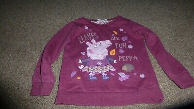 Girls 6-7 Years Peppa Pig Leaves Are Fun Red Maroon Jumper Sweat Top Cotton