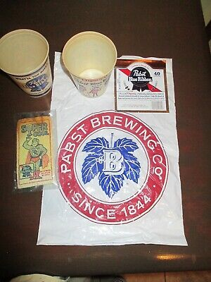 Vtg Pabst Blue Ribbon Memorabilia Cups Bag Sponge Label