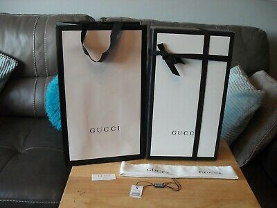GUCCI EMPTY BOX 21.5cm x 37.5cm x 14cm WITH RIBBON CLOTH TAG AND BAG