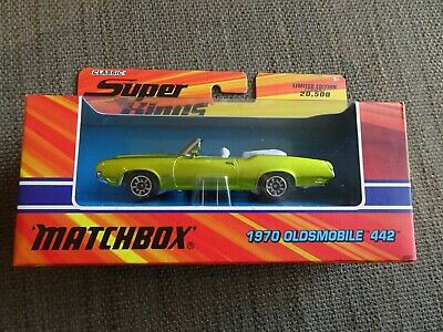 Matchbox Superkings K-204 1970 Oldsmobile 442 Convertible - Lime - NEW boxed