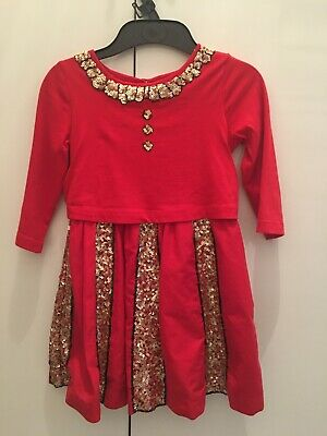 Girls Mini Boden Red&Gold Party Dress Age 5-6yrs Excellent condition worn once