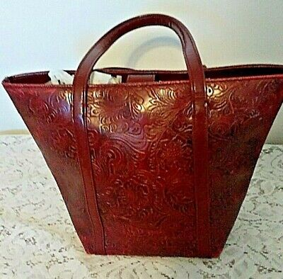 Vintage Victoria Secret Small Tote Bag Floral Embossed Burgundy Western Style