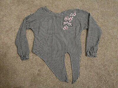Girls Black And White Checked Cropped Blouse From H&M AGE 10-11 Yrs