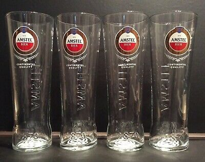New And Unused CE Marked Amstel Bier Continental Quality Pint Glasses X4