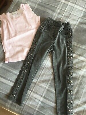 Grey Studded Next Jeggings And Pink Top. Age 4-5