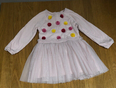 BNWT Girls Marks And Spencer Pink Pom Pom And Tutu Dress age 2-3 Years