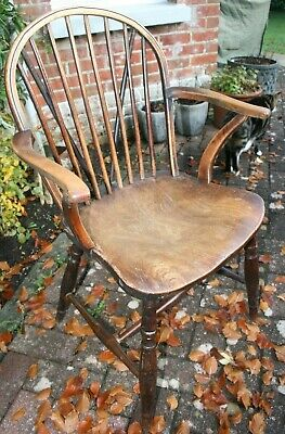 Antique Hardwood Spindle backed Small armchair.Vintage Chair Cottage VGC