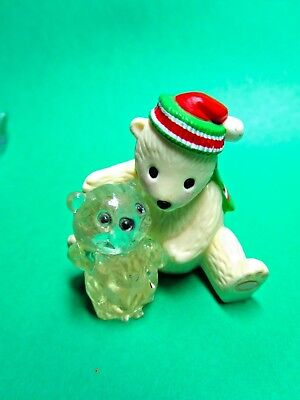 1987 HALLMARK MERRY MINIATURE POLAR BEAR w/ICE SCULPTURE CHRISTMAS FIGURINE(C94)