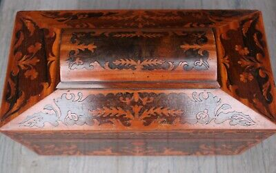 Richly inlaid sarcophagus tea caddy