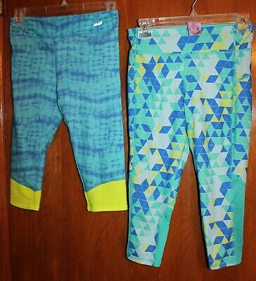 LOT OF 2 * Girls' Sz 10-12 PERFORMANCE/ATHLETIC LEGGINGS (blue/green; capri) EUC