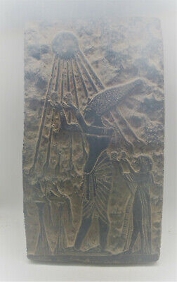 Circa 500Bce Ancient Egyptian Black Stone Relief Panel Ptah Reaching The Sun