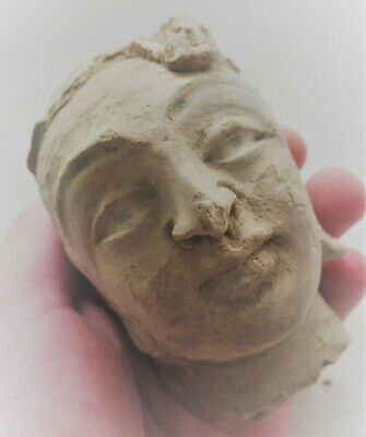 Circa 200-300Ad Ancient Roman Terracotta Head Statue Fragment Of A Young Boy