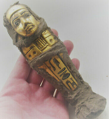 Circa 500Bce Ancient Egyptian Gold Gilded Ushabti Wrapped In Coptic Cloth Rare