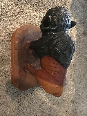 "Large Wood Carved Buffalo Bison Hand Made 20"" X 20 "" 21 Pounds"