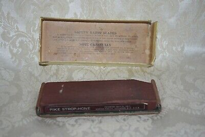 Antique Vintage Pike Strop Hone Straight Razor Sharpener in Partial Box
