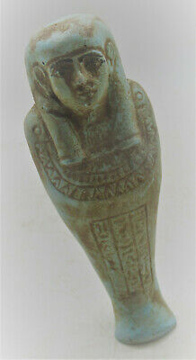 Circa 300Bce Ancient Egyptian Blue Glazed Faience Ushabti Shabti With Heiroglyph
