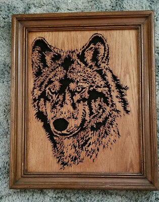 Handcrafted & Framed Wooden Wolf Head Cutout