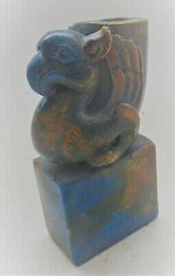 Beautiful Old Near Eastern Blue Glazed Stone Miniature Griffin Rhyton Seal