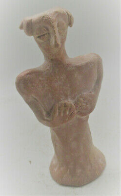 Circa 500Bce Ancient Near Eastern Terracotta Worshipper Statuette Rare