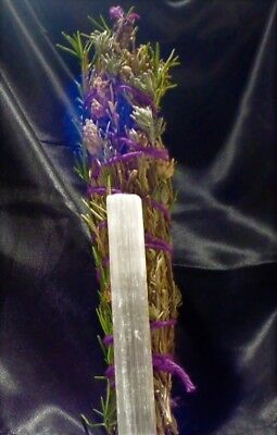"""Lavender & Rosemary Crystal Smudge Stick 5"""" Handmade, Magical, with Selenite!"""