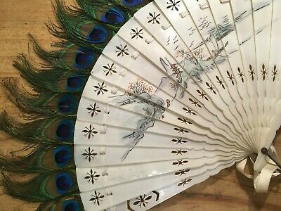 Vintage Peacock Feather Fan Chinese with hand painted mountain scene 24x39cm