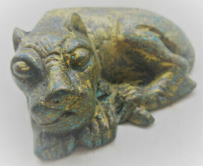 Beautiful Roman Near Eastern Bronze Lion Statuette With Gold Gilt 200-300Ad