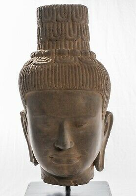 Antique Banteay Srei Style Stone Mounted Khmer Vishnu Head - 56cm / 22""