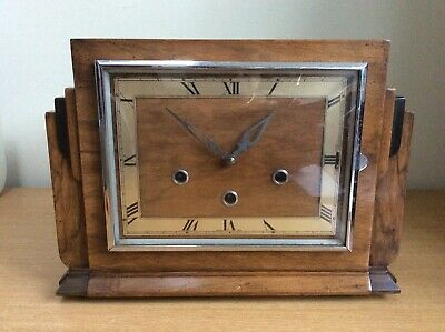 Antique Square Wooden Clock Westminster Chimes With Key