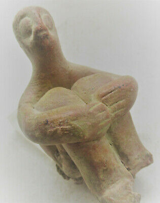 Circa 5000Bce Ancient Tel Halaf Terracotta Seated Fertility Figure Rare
