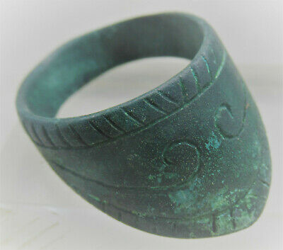 Circa 200-300Ad Ancient Roman Bronze Archers Thumb Ring With Decorations