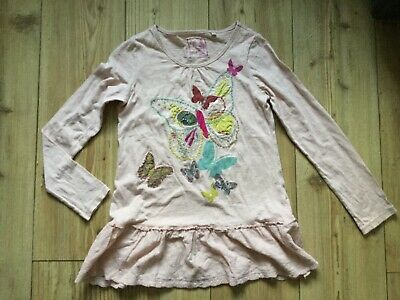 Next Girls' long sleeved rustic pink top with sequin detail (10 yrs), pre-owned.