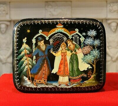 Antique Christmas Gift Russian WOOD box casket Hand Painted