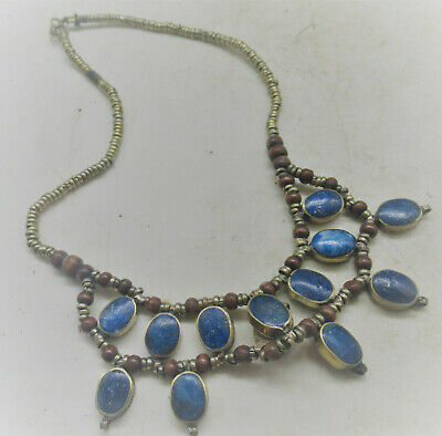 Beautiful Antique Islamic Silvered Necklace With Lapis Lazuli Stones