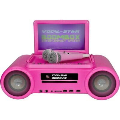 Vocal-Star Pink Cdg Dvd Bluetooth Karaoke Machine 150 Songs & 2 Microphones