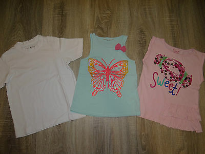 Girls set of 3x t-shirts H&M, Nutmeg summer tops Butterfly Sweet age 4-6years