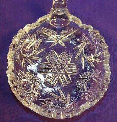 Beautiful Abp American Brilliant Cut Glass Nappy Bowl W/ Handle Star Pattern