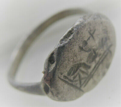 Beautiful Late Roman Silver Seal Ring With Seated Ruler Holding Cross On Bezel