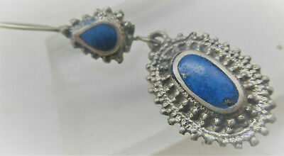 Nice Post Medieval Islamic Silver Earring With Lapis Lazuli Inserts