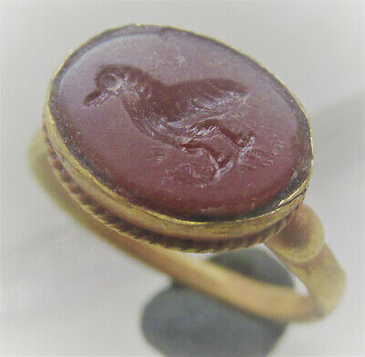 Rare Ancient Roman High Carat Gold Ring With Carnelian Eagle Intaglio Aquilla