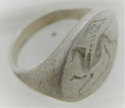 Scarce Circa 100Bce Ancient Greek Silver Seal Ring With Griffin Impression