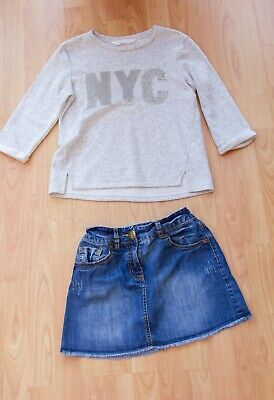 Girls Bundle age 10-11 years. NEXT Denim Jean Skirt & H&M Top