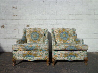 Pair Chairs Traditional Lounge Armchairs Chair Seating Vintage Accent Armchairs