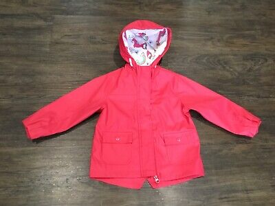 Girls Nutmeg coral pink rain jacket with unicorn/rainbow hood, size 2-3, EUC