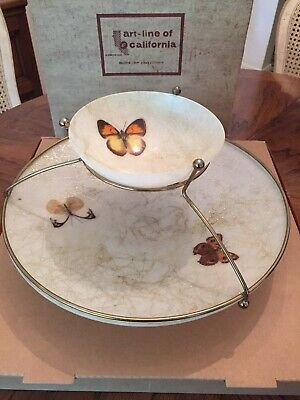 MID CENTURY BUTTERFLIES CHIP DIP BOWLS by ART-LINE OF CALIFORNIA