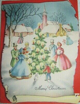 VTG Antique Merry Christmas Victorian Town Square w/ Tree Die Cut Holiday Card